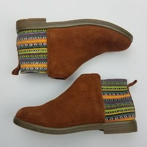 TOMS Girls Size 4 Deia Ankle Boots Suede & Textile